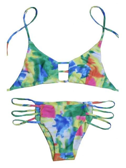 womens Tie Dye Halter Print Bikini Set - CELADON XL Mobile