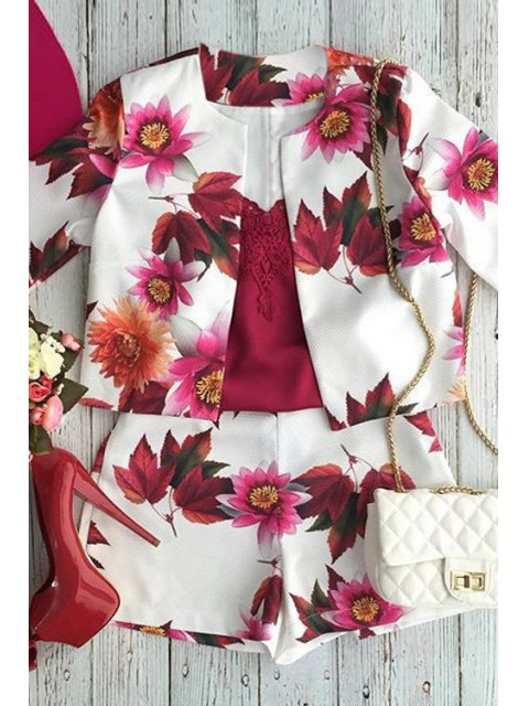 buy Floral Print Long Sleeve Coat and Shorts Suit - DEEP RED L Mobile