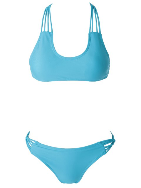 trendy Solid Color Padded Cut Out Bikini Set - BLUE M Mobile
