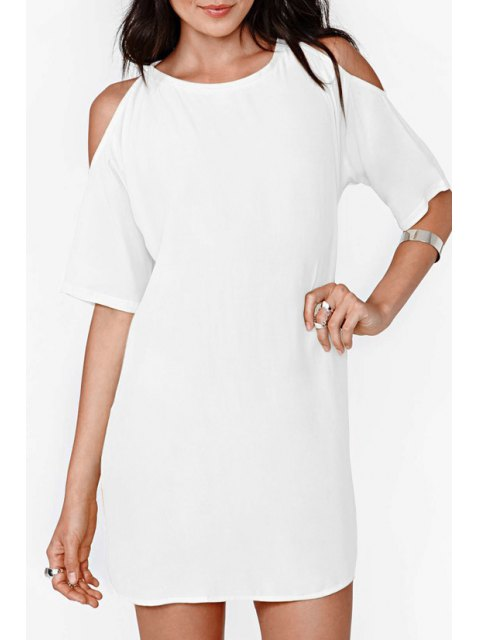 fashion Solid Color Cut Out Chiffon Dress - WHITE 2XL Mobile