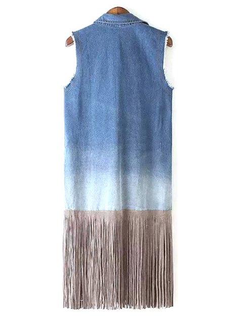 women's Bleach Wash Tassel Splicing Sleeveless Waistcoat - BLUE L Mobile