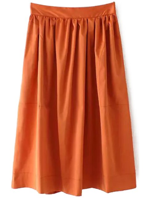 sale Ruffle Elastic Waist Skirt - BROWN L Mobile