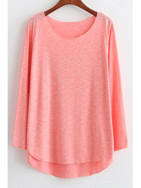 unique Candy Color High Low Long Sleeve T-Shirt - WATERMELON RED ONE SIZE(FIT SIZE XS TO M) Mobile