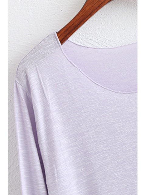 chic Candy Color High Low Long Sleeve T-Shirt - GREEN ONE SIZE(FIT SIZE XS TO M) Mobile