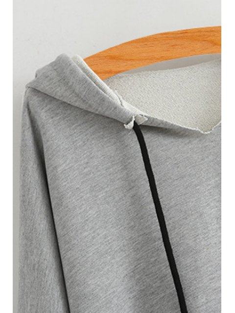 ladies High Low Solid Color Long Sleeve Hoodie - BLUE ONE SIZE(FIT SIZE XS TO M) Mobile