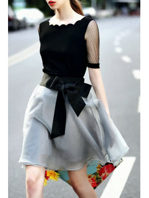 shop Lace Spliced Short Sleeve T-Shirt and Voile Skirt Suit - BLACK AND GREY M Mobile