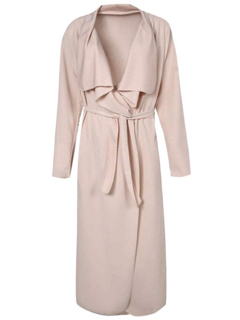 chic Turn-Down Collar Solid Color Asymmetrical Trench Coat - APRICOT 2XL Mobile