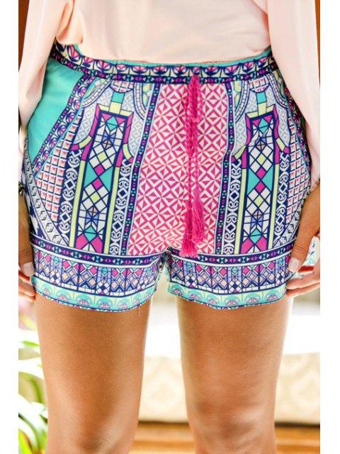 best Tie-Up Colorful Print Shorts - COLORMIX M Mobile