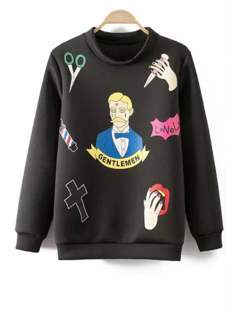 fashion Figure Palm Print Long Sleeve Sweatshirt - BLACK M Mobile