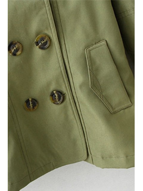 online Solid Color Lapel Long Sleeves Trench - ARMY GREEN L Mobile