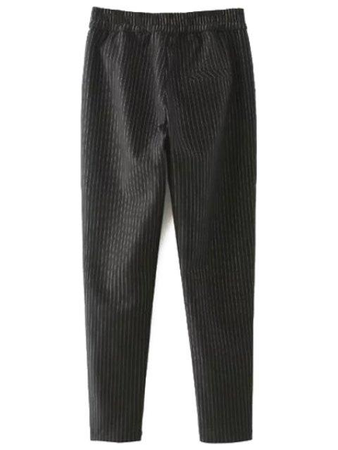 Pantalons à rayures Tie-Up - Noir 2XL Mobile