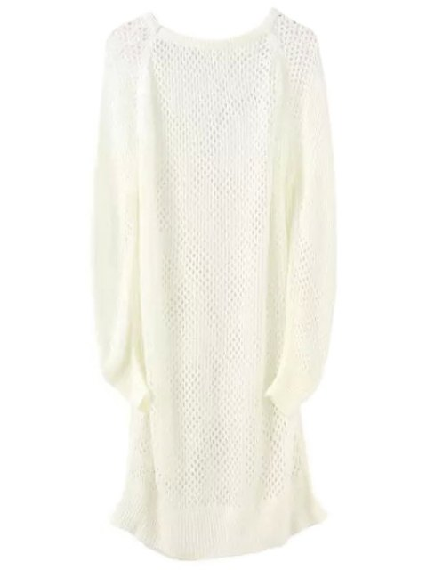 shop Loose-Fitting Long Hollow Sweater - WHITE ONE SIZE(FIT SIZE XS TO M) Mobile