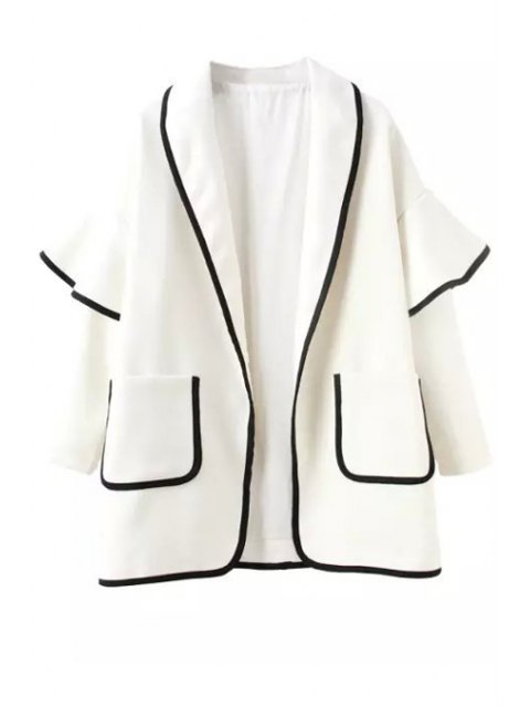 outfit Bell Sleeve Pocket Trench Coat - WHITE S Mobile