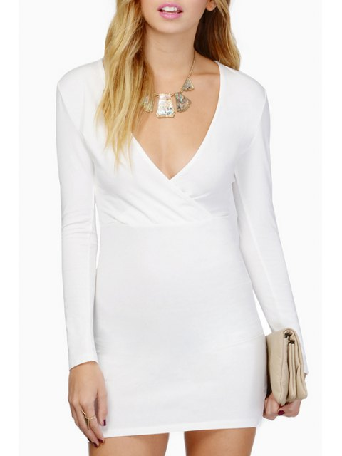 online Plunging Neck Long Sleeve Bodycon Dress - WHITE M Mobile