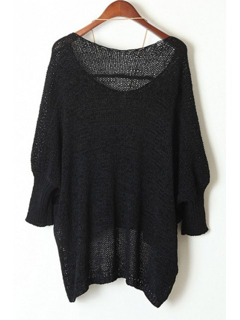 latest Open Knit Scoop Neck Oversized Sweater - BLACK ONE SIZE(FIT SIZE XS TO M) Mobile