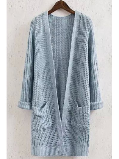 Solid Color Pocket Long Sleeve Collarless Cardigan