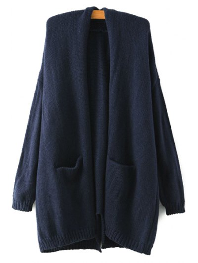 Collarless Back Slit Pocket Long Sleeve Cardigan