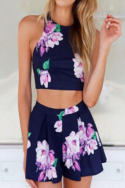 Jewel Neck Sleeveless Floral Print Crop Top Ruffled High Waisted Shorts Twinset