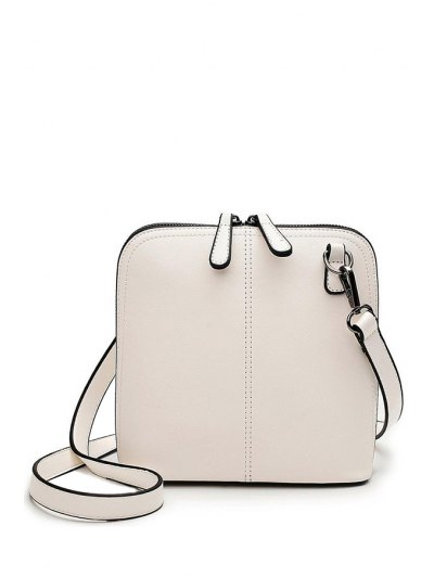 Buckle Zipper Solid Color Crossbody Bag - White
