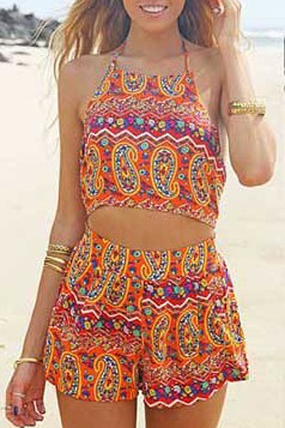 Halter Neck Backless Crop Top and High Waisted Printed Shorts Suit