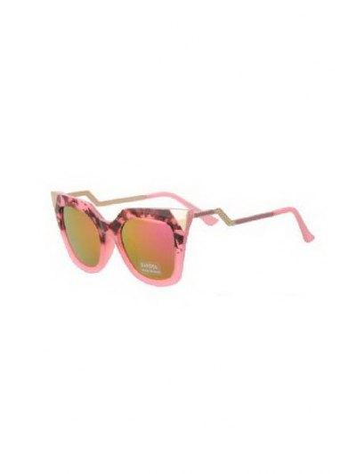 Leopard Splice Cat Eye Shape Frame Sunglasses - Pink
