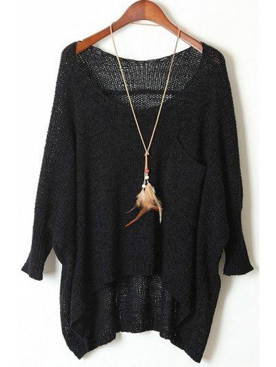 Open Knit Scoop Neck Oversized Sweater - Black
