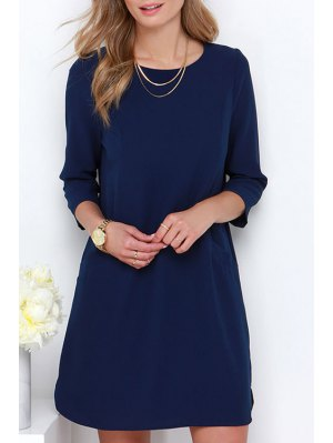 Blue Jewel Neck Long Sleeve Dress