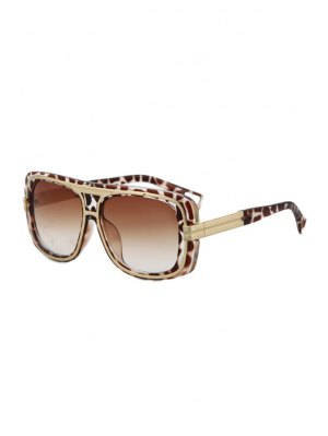 Metal Inlay Leopard Frame Sunglasses - Deep Brown