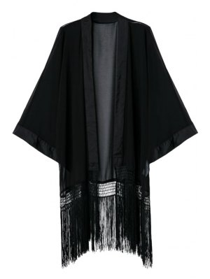 Black Collarless Long Sleeve Kimono