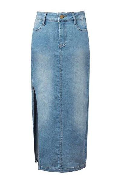 denim blue high waisted skirt