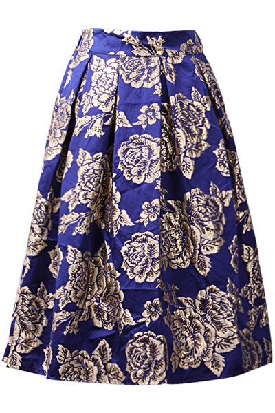 ruffled a line floral pattern midi skirt blue skirts zaful