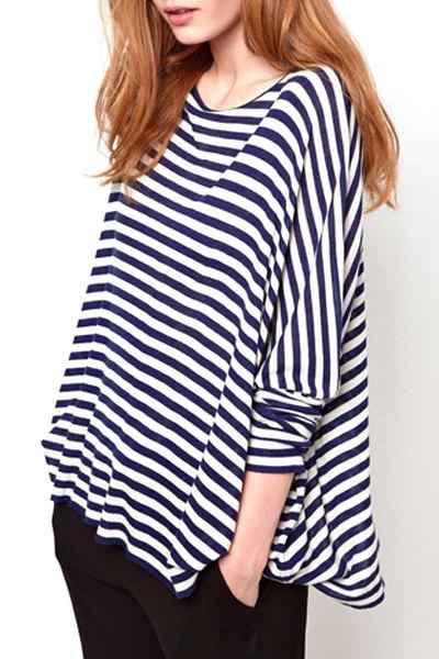 White blue stripe long sleeve t shirt blue and white tees for Blue and white striped long sleeve t shirt
