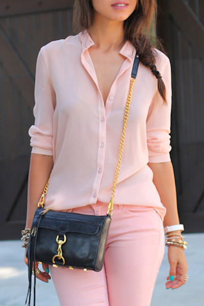 Stand up collar solid color button shirt pink blouses zaful for Solid color button up shirts