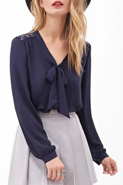 V neck back lace see through shirt purplish blue blouses for Shirts with see through backs