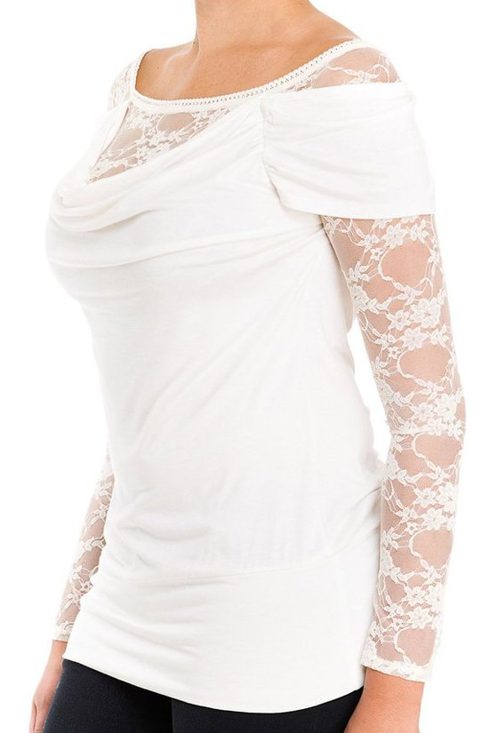 See Through Lace Long Sleeve T Shirt White Tees Zaful