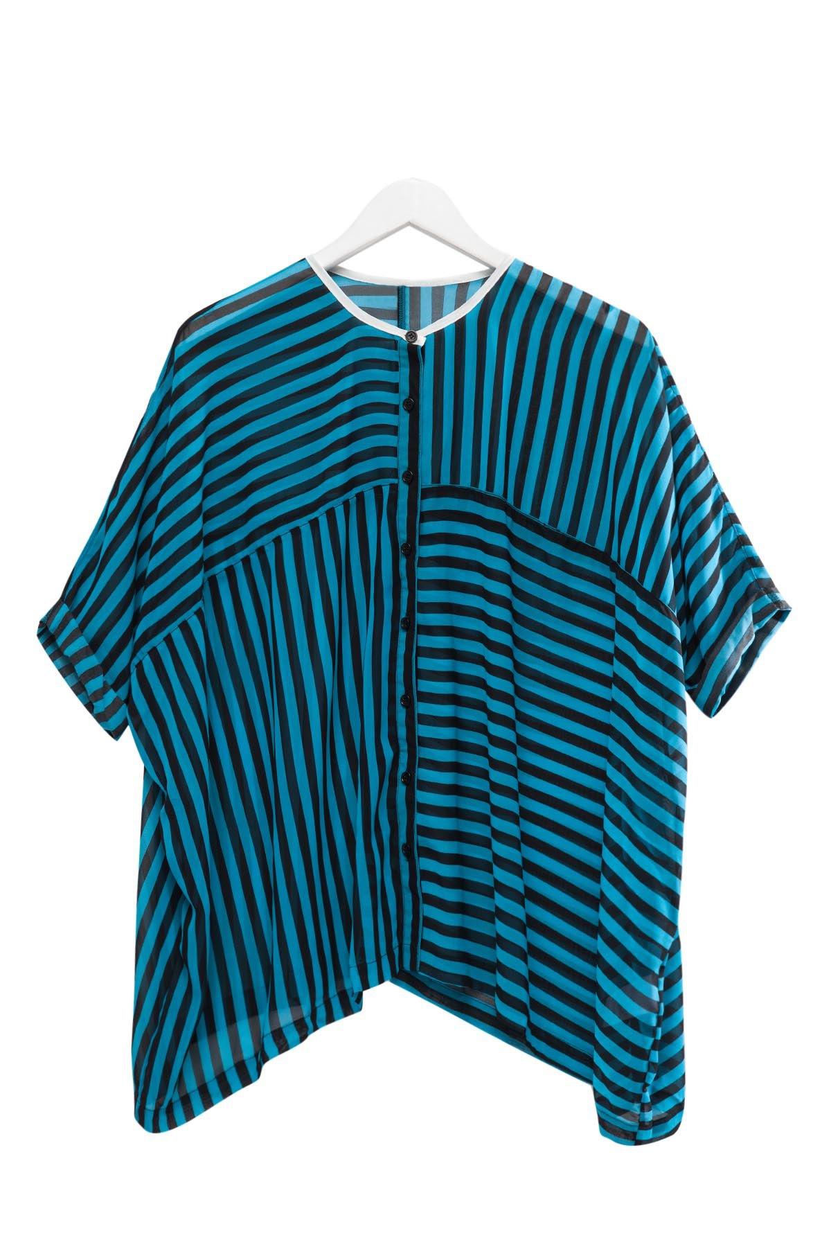 Stripe See-Through Half Sleeve Shirt