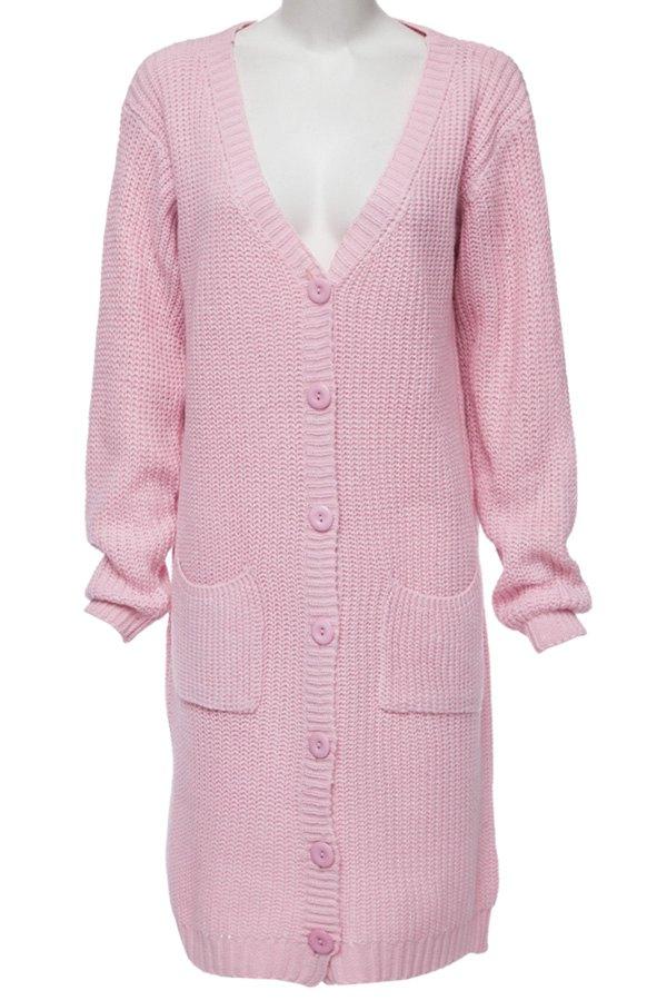 Buy Single-Breasted Pocket Long Cardigan PINK ONE SIZE(FIT SIZE XS TO M)