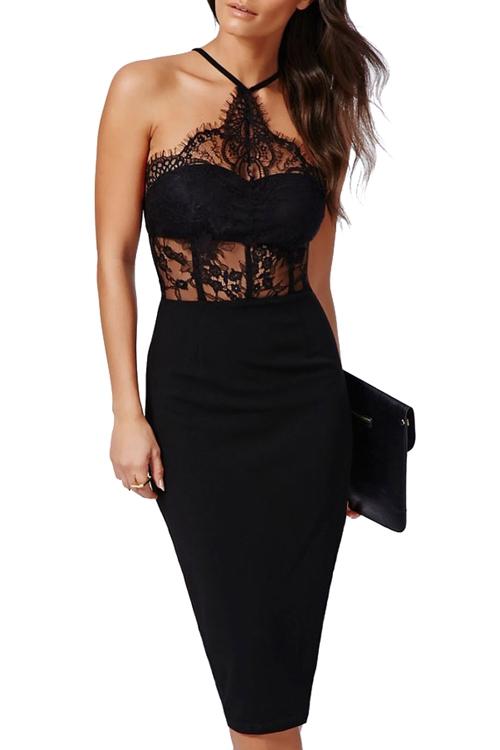lace spliced hollow bodycon dress black bodycon dresses