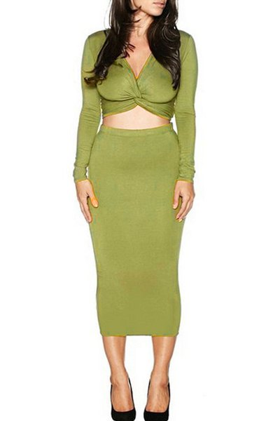 Long Sleeve Front Twist Crop Top and Pencil Skirt Suit от Zaful.com INT