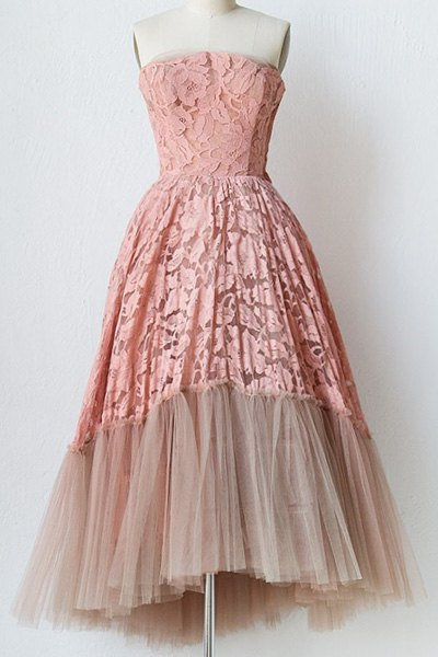 Strapless Crochet Voile Prom Dress