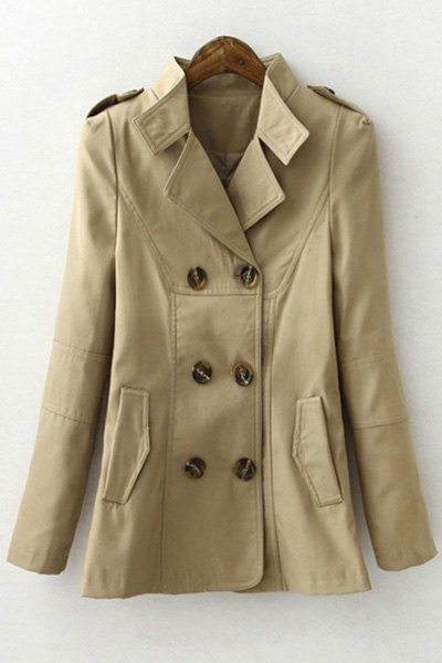 Lapel Long Sleeve Solid Color Trench