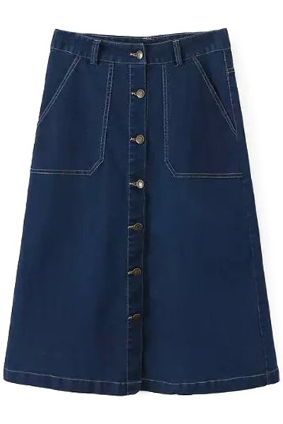 a line denim midi skirt blue skirts zaful