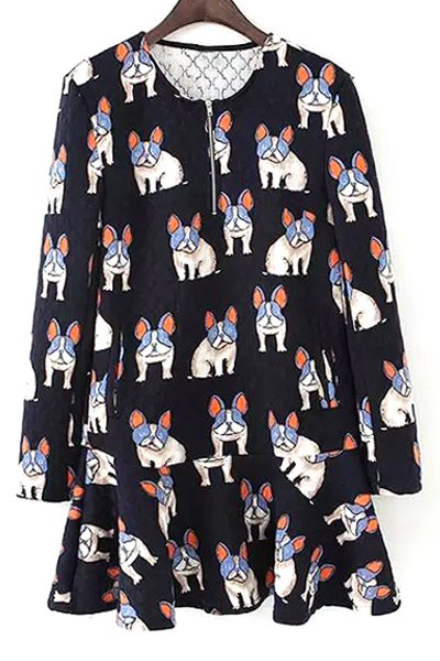 Jewel Neck Dogs Print Long Sleeve Dress