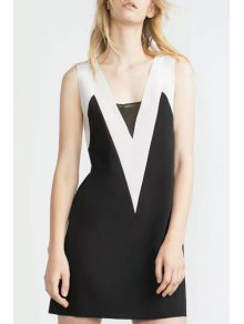 White Black Splicing Backless Sleeveless Dress - Black M