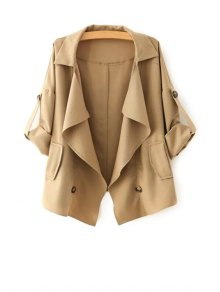 Golilla Solid Color Buttons Long Sleeve Trench Coat - Khaki L