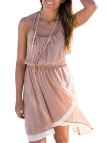 Color Block Open Back Asymmetric Midi Dress - Pink M