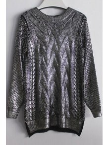 High-Low Hem Sparkle And Glitter Sweater - Silver