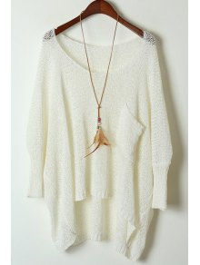 Open Knit Scoop Neck Oversized Sweater - White