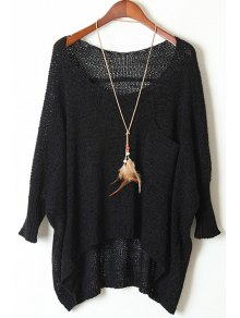 Open Knit Scoop Neck Oversized Sweater - Black