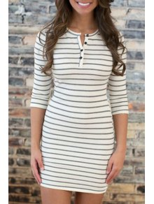 Jewel Neck Stripe Buttons Half Sleeve Dress - White L